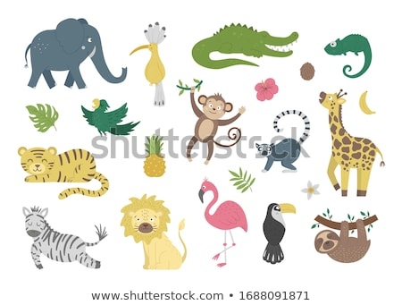 Stock photo: Vector Flat Cartoon Animal Clip Art