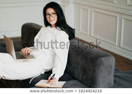улыбающаяся · женщина · очки · видение · здоровья - Сток-фото © deandrobot