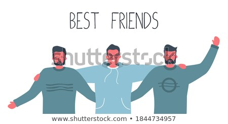 Three young friends wearing casual clothes standing together as friends. Stock photo © makyzz
