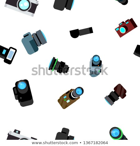 Photo Camera Seamless Pattern Vector. Photocamera Retro Icon. Travel. Cute Graphic Texture. Textile  Foto d'archivio © pikepicture