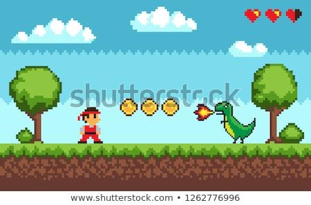 Stock photo: Pixel Game, Duel between Man and Dragon Vector