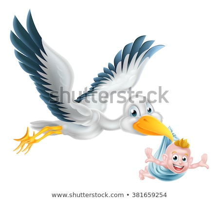 Stork Cartoon Pregnancy Myth Bird With Baby Stock photo © Krisdog