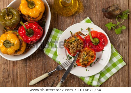 Colorful stuffed bell peppers Stock photo © BarbaraNeveu