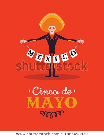 Happy Cinco de Mayo card of skeleton mariachi Stock photo © cienpies