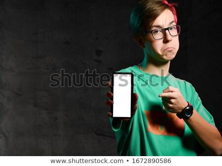 Green clothing glasses boy_emotion Stock photo © toyotoyo