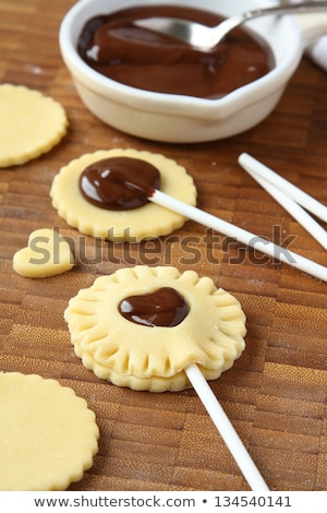 Process of baking homemade shortbread cookies with chocolate Stock photo © Melnyk