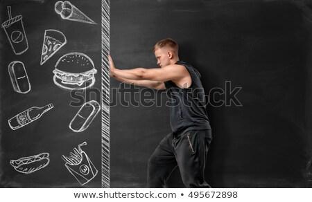 drawn fast food burger prohibition sign stock photo © romvo