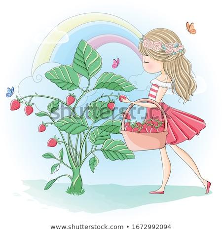 Photo stock: Cute · fille · fraises · jardin · printemps