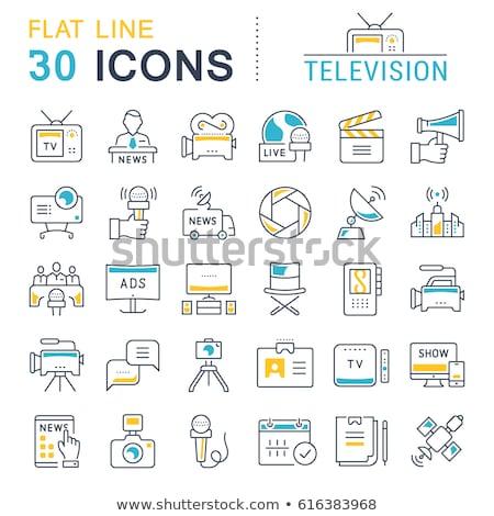 Foto stock: Online Cinema Flat Icons Set