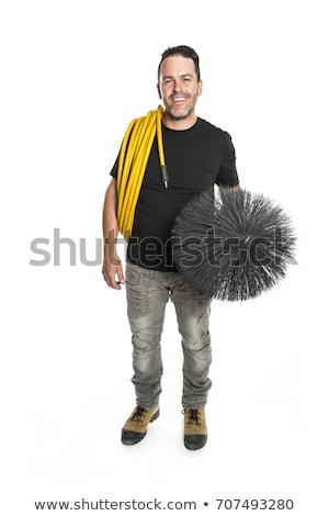 Foto stock: Ventilação · limpador · homem · trabalhar · ferramenta · branco