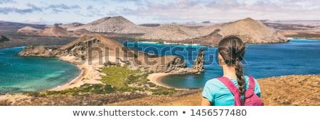 Galapagos islands cruise vacation tourist woman panoramic banner. Bartolome Stock photo © Maridav
