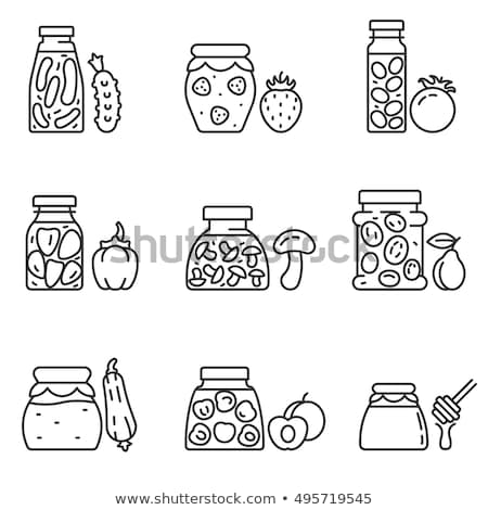 Canned Plums in Glass Jar Vector Illustration Stock photo © robuart