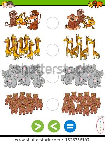 Mniej równy zadanie dzikie zwierzęta cartoon ilustracja Zdjęcia stock © izakowski