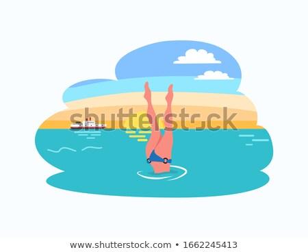 donna · diving · gambe · up · diver · bikini - foto d'archivio © robuart