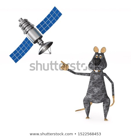 Ratto satellite bianco isolato illustrazione 3d mouse Foto d'archivio © ISerg