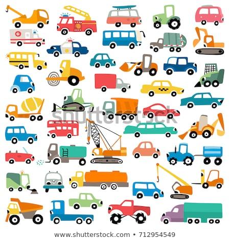 Desenho animado veículos céu arte ônibus engraçado Foto stock © kariiika