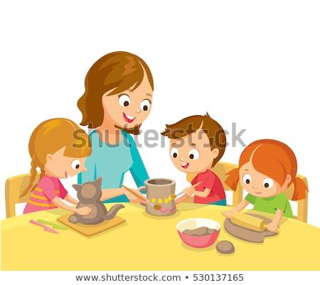 Crianças cerâmica classe ilustração avental Foto stock © lenm