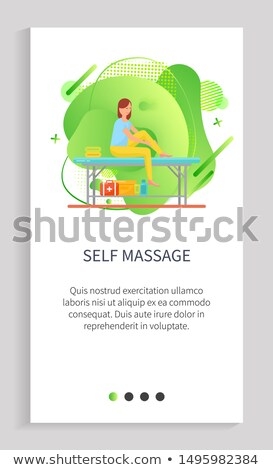 Self Massage, Woman Rubbing Feet and Ankles Vector Stock photo © robuart