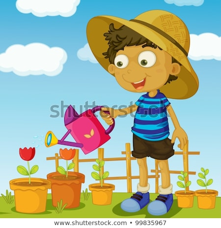 One happy boy with blue watering can Stock photo © bluering