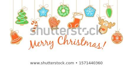 Pan di zenzero Natale cookies allegro saluto testo Foto d'archivio © vectorikart