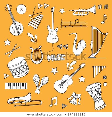 Cartoon instrumenty muzyczne muzyki symbolika obiektów Zdjęcia stock © balabolka