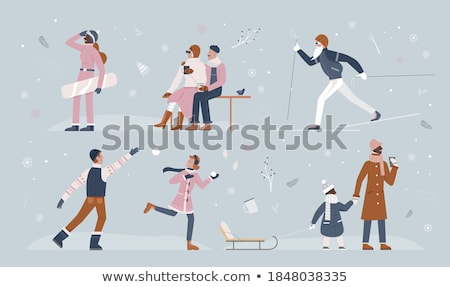 Man and Woman Walking in City, Christmas Snowball Stock photo © robuart
