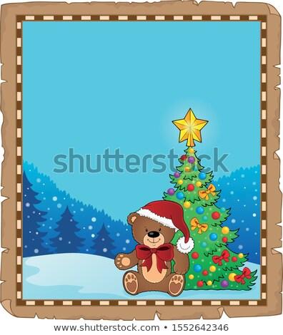 Karácsony plüssmaci téma pergamen papír boldog Stock fotó © clairev