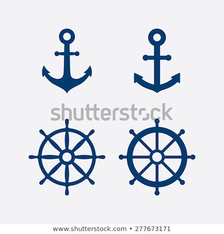 Stock photo: silhouettes of sailboats,  anchors  and steering wheel
