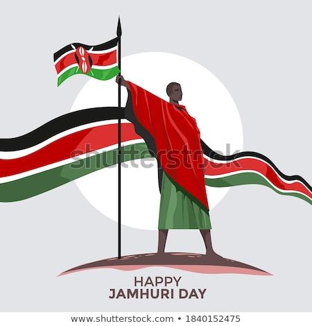 Kenia banderą biały podróży Afryki wydruku Zdjęcia stock © butenkow