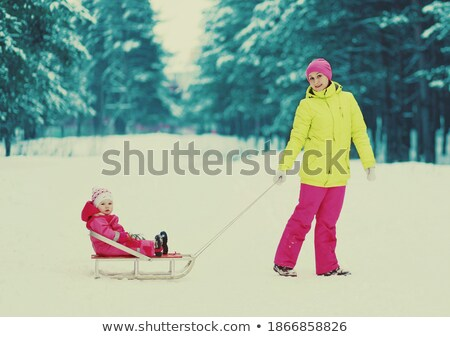 Family Tubing in Snowy Forest, Wintertime Activity Stock photo © robuart