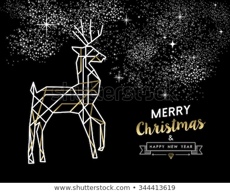 Christmas New Year gold outline reindeer card Stock photo © cienpies
