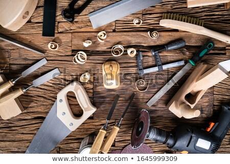 Afgewerkt houten muis timmerman tools Stockfoto © AndreyPopov