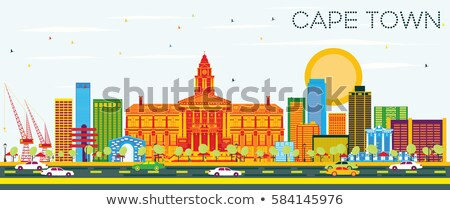 Abstract Cape Town skyline with color buildings.  Stock photo © ShustrikS