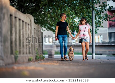Girl of 12 years walks a pet on the street Stock photo © ElenaBatkova