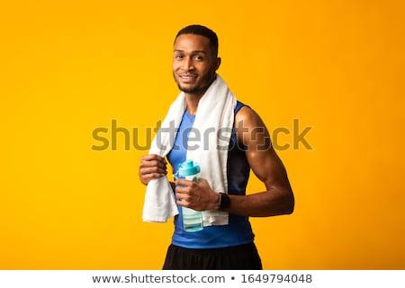 Kép sportoló törölköző nyak ivóvíz boldog Stock fotó © deandrobot