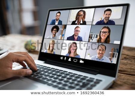 Webinar video laptop online vergadering conferentie Stockfoto © AndreyPopov