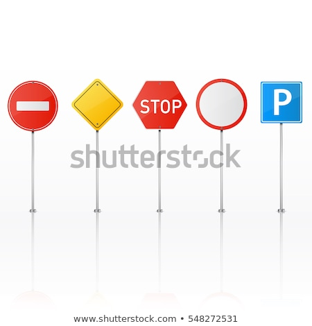 Stop red glossy road sign on white Stock photo © evgeny89