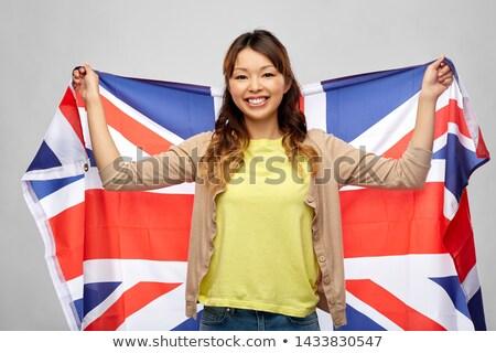Szczęśliwy asian kobieta szary obywatelstwo Zdjęcia stock © dolgachov