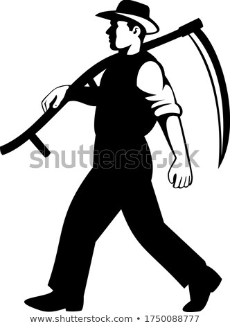 Organic Farmer Walking with Scythe Viewed from Side Retro Black and White Stock photo © patrimonio