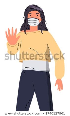 Young girl wearing respiratory mask show stop gesture, flat style portrait with cartoon character Stock photo © robuart