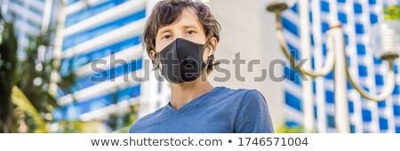 Elegante preto médico máscara filtrar cidade Foto stock © galitskaya