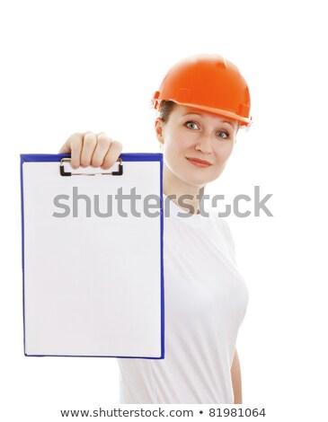женщину белый шлема пустая страница изолированный Сток-фото © Nobilior