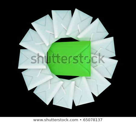 One Large And Many Small Envelopes Over Black Stok fotoğraf © Arsgera