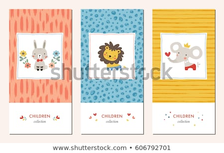 Cute lion on blue greeting card background  Stock photo © adrian_n