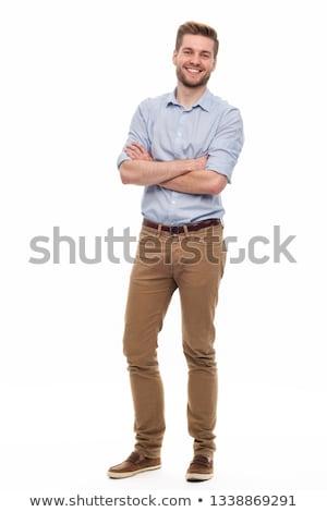 fiatalember · szakáll · egészalakos · izolált · fehér · divat - stock fotó © Paha_L
