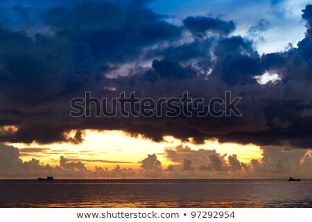 hajók · vihar · retro · papír · stílus · óceán - stock fotó © fisfra