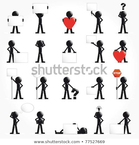 Conjunto o homem 3d seta símbolos feliz fundo Foto stock © alvaroc