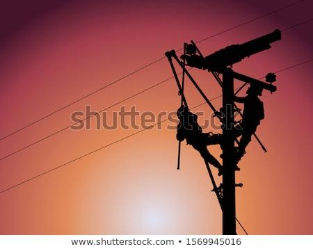 Poder pólo transformador céu concreto arame Foto stock © rbiedermann