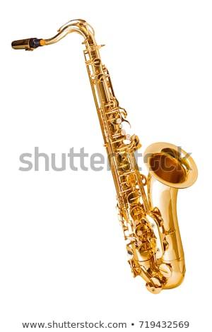 saksofon · yalıtılmış · beyaz · müzik · arka · plan · karanlık - stok fotoğraf © chrisroll