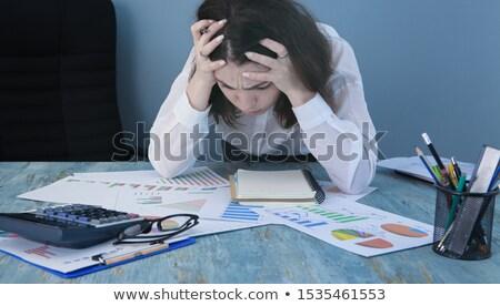 Femme perplexe bureau fichiers travaux studio Photo stock © photography33